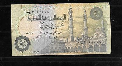 EGYPT #62e 2001 VG USED 50 PIASTRES BANKNOTE PAPER MONEY CURRENCY BILL NOTE