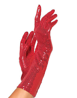 Red Sequin Elbow Length Gloves Adult Women Costume Accessory - One Size