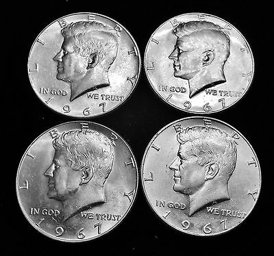 (4) 1967 Kennedy Half Dollar - 40% Silver US - Bus Cir - Philadelphia Mint *