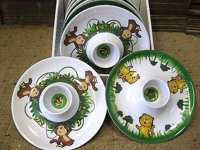 12 x TIGER & MONKEY KIDS EGG CUP HOLDER TODDLER PLAY GROUP BREAKFAST RESTAURANT