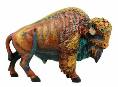 "Faux Wood Wild & Free Colorful American Bison Figurine 9""L Hand Painted Ox Head"