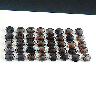 40 Pcs ~12mm/10mm Oval~ VVS Natural Smokey Quartz Untreated Gemstones