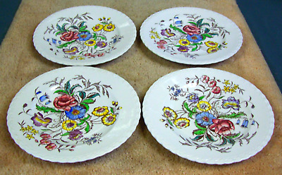 Set of 4 Vintage Vernon Kilns May Flower Dinner Plates (609)
