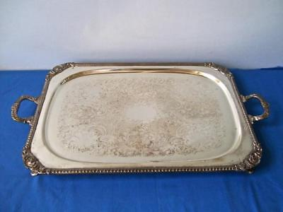 Antique Large Ornate Footed Silver Plate Butler's Serving Tray With Handles