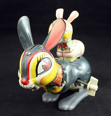 Vintage Japan Tin Litho Hopping Double Bunny Rabbit Toy