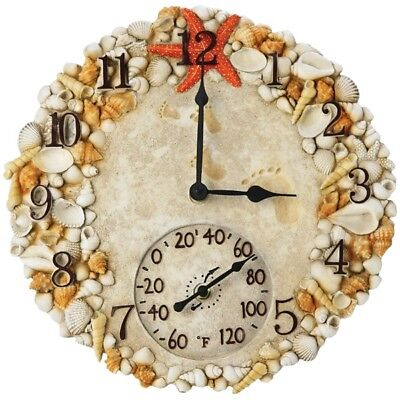 "SPRINGFIELD 92622  14"" Poly Resin Clock with Thermometer (Seashells)"