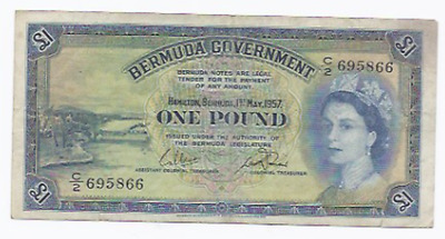 Bermuda 1957 1 Pound P20b Without Security Strip