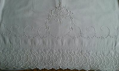 "Set Of Vintage White Cotton Pillowcases ~ Hand Embroidered ~ 3"" Eyelet Borders"