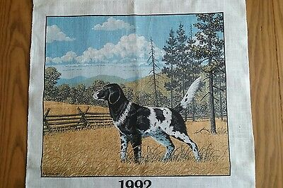 Unused Linen Print1992 Kitchen Calendar Towel ~ Pointer Dog