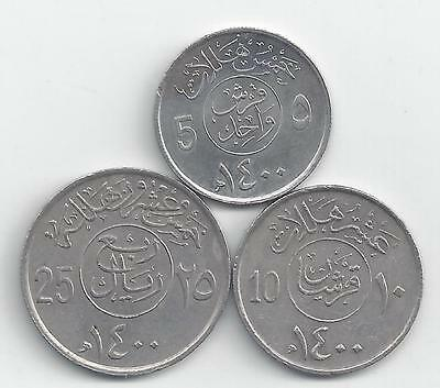 3 DIFFERENT COINS from SAUDI ARABIA - 5, 10 & 25 HALALA (ALL DATING 1979)