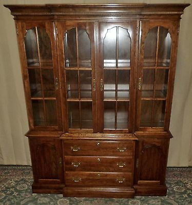 KLING CHINA CABINET Cherry Lighted Breakfront Hutch VINTAGE