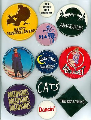 11 Vintage 1970s-80s Broadway Musical Advertising Pinback Buttons- Amadeus; Cats