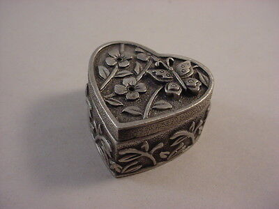 Genuine Pewter Collectible #3 Heart Shaped Trinket Box w/Pin Back