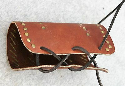 Vintage Mountain Man Native American Hand Made Leather And Brass Braclet