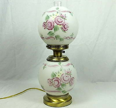 Fenton LG Wright Gone With The Wind GWTW Lamp HP Rose Garden Pattern 19.5""