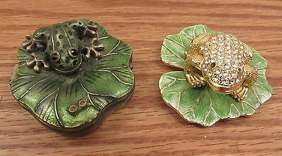 2 vintage jeweled/enameled frog on lily pad trinket boxes Rucinni?