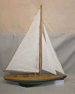 Vintage Wooden Hull Pond Boat Sailing Ship