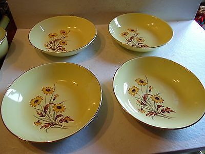 4 Vintage Coupe Cereal Bowls Versatile Yellow Daisies Taylor, Smith & Taylor