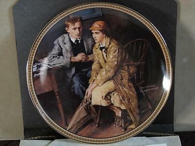Norman Rockwell Collector Plate: Confiding In The Den w/Coa and O/G Box