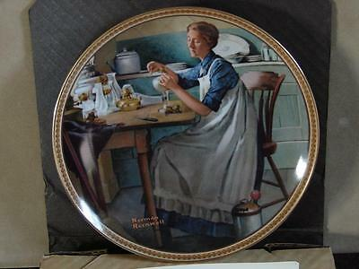 Norman Rockwell Collector Plate: Working In The Kitchen w/Coa and O/G Box