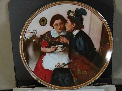 Norman Rockwell Collector Plate: Gossiping In The Alcove w/Coa and O/G Box