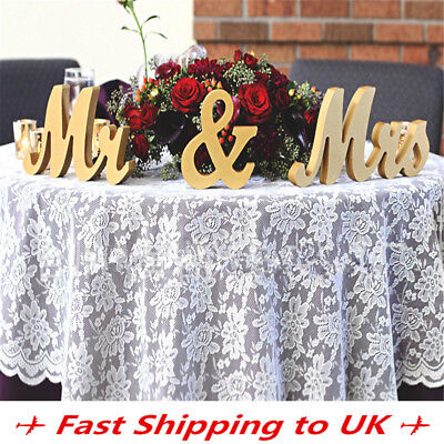 Mr and Mrs Letters Sign Glitter Wooden Standing Top Table Wedding Decorations