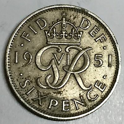 C3689    Great  Britain   Coin,    Six  Pence    1951