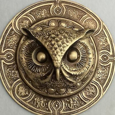 "EXTRA SUPER LARGE 3"" INCH Stamped Brass Antique & Vintage~""OWL""~Picture Button"