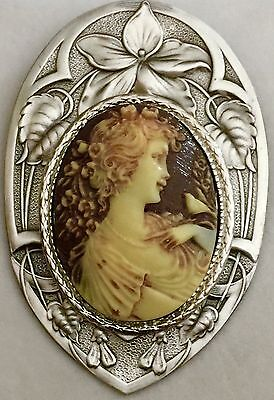 "IVORY & CHOCOLATE COLOR PICTURE CAMEO PICTURE BUTTON On Stamped Brass~2 1/4""INCH"