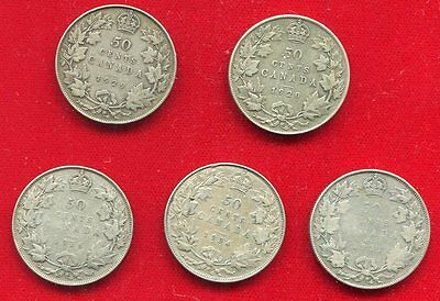 Canada Silver 50 Cents 5 Different George V 1920, 1929, 1931, 1934, 1936 Very Go
