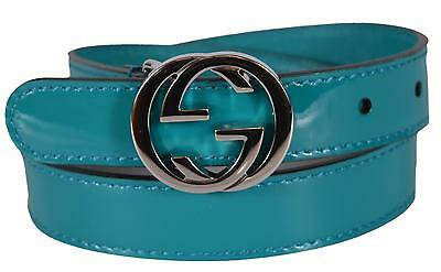 New Gucci Girl Children's Patent Leather Turquoise Interlocking GG Belt Medium