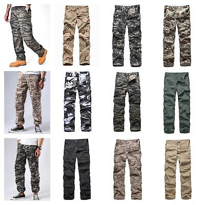 Mens Army Military Paratrooper Cargo Pants Outdoor Comfort Camo Fashion Pants
