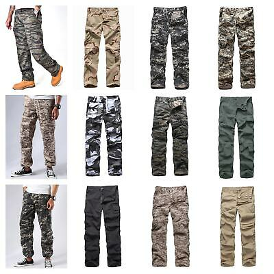 Mens Army Style Cargo Pants Work Outdoor Camping Fishing Cargo Pants