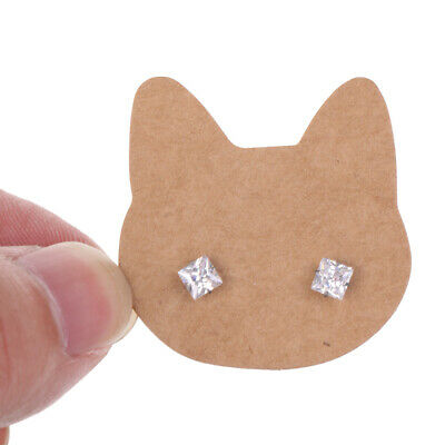 100pcs Vintage Kraft Paper Recycled Earrings Display Cards Gift Tags - Cat