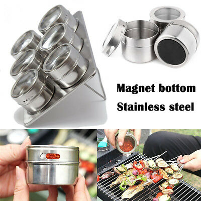 Portable Salt Pepper Stainless Steel Spice Jars Flavoring Container Magnetic Tin