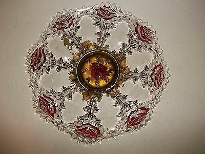 Vintage Antique Indiana Ruby Red ROSES IN THE SNOW Plate Platter GOOFUS GLASS