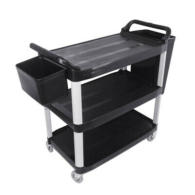 SOGA 3 Tier Food Trolley Food Waste Cart With Two Bins Storage Kitchen Small
