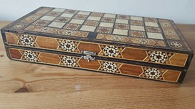 """Beautiful antique middle eastern backgammon / draughts board. Micro mosaic. 12"""""""