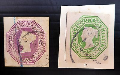 GB 1847 Embossed Ex Stationery 6d & 1/- Used AD639