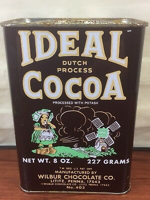 Vintage Ideal Dutch Cocoa Wilbur Chocolate Co. Lititz, PA. Advertising Tin Can