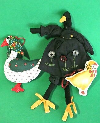 Estate Hand Crafted Stuffed Plush Ornaments Decorations: Xmas Goose & Black Duck