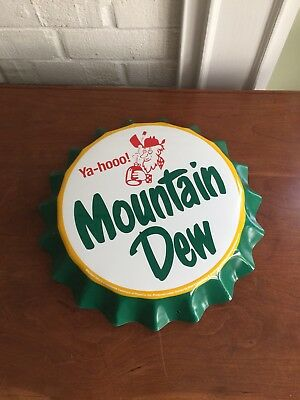 Mountain Dew Soda Pop~~Metal Tin Sign Bottle Cap Wall