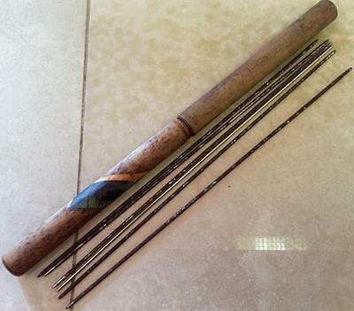 Antique Wooden Knitting Needle Case Metal needles England Pointed tapered No.14