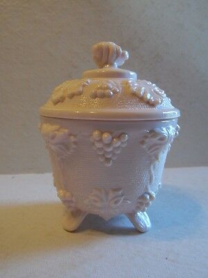 Vintage Jeannette Shell Pink Milk Glass Grape Vine Footed Candy Dish / Nut Bowl