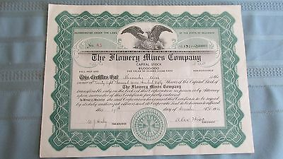 1925 Flowery Mines Company Mining Stock-Signed-Uncancelled-28,750 Shares