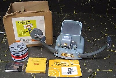 Vernon 8mm Movie Editor Viewer w/ Instructions, 50-ft. Reels, Lead Tape, Splicer