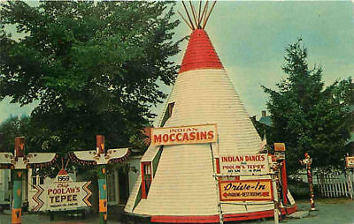 Roadside Postcard Teepee Chief Poolaw's Gift Shop, Indian Island, Old Town, ME