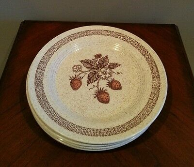 4 Homer Laughlin Speckled Strawberry Dinner Plates