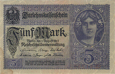 1917 5 Mark Germany Currency German Banknote Note Money Bank Bill Cash Wwi