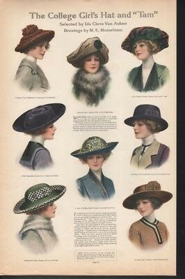 1912 College Girl Woman Hat Tam Fashion Style Musselman Ad 16311